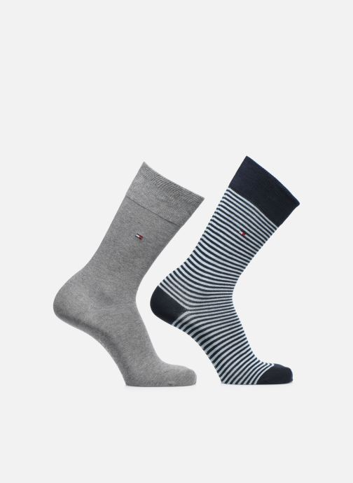 Chaussettes et collants Tommy Hilfiger TH MEN SMALL STRIPE SOCK 2P Bleu vue détail/paire