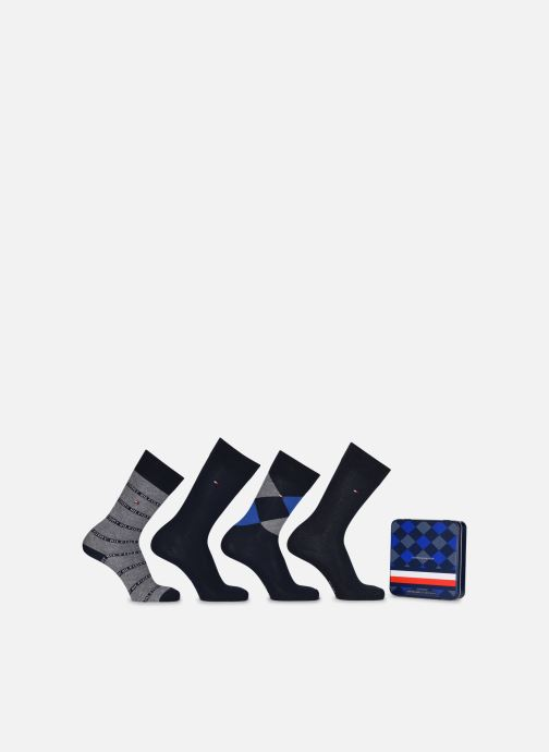 Chaussettes et collants Tommy Hilfiger TH MEN SOCK 4P GIFTBOX ARGYLE Bleu vue détail/paire