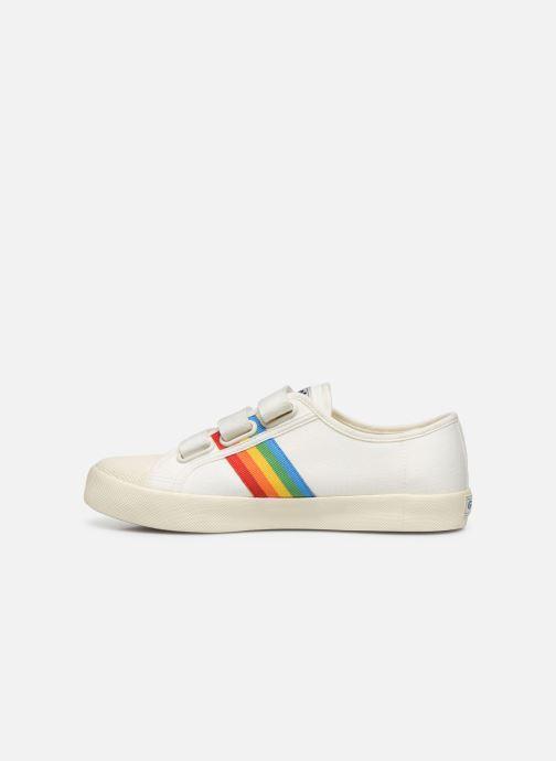 Baskets Gola Coaster Rainbow Velcro Blanc vue face