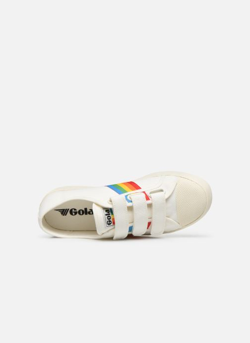 Baskets Gola Coaster Rainbow Velcro Blanc vue gauche