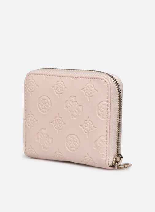 Petite Maroquinerie Guess LOGO LOVE SLG SMALL ZIP AROUND Rose vue droite