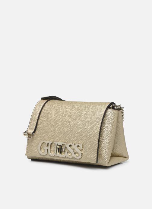 Bolsos de mano Guess UPTOWN CHIC  MINI XBODY FLAP Oro y bronce vista del modelo