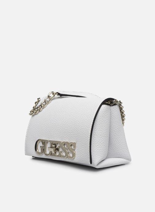 Borse Guess UPTOWN CHIC  MINI XBODY FLAP Bianco modello indossato