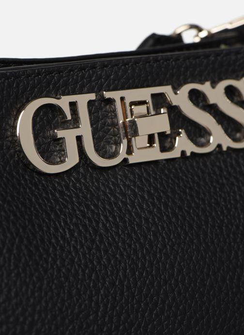 Borse Guess UPTOWN CHIC  TURNLOCK SATCHEL Nero immagine sinistra