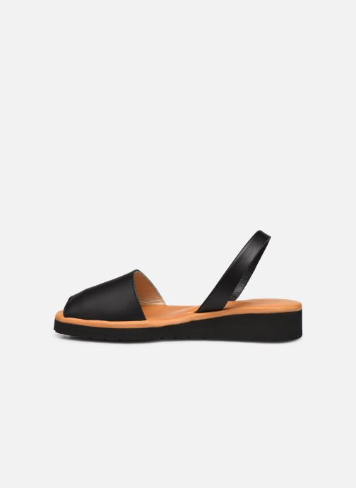 Sandales et nu-pieds Minorquines Avarca Platja Noir vue face