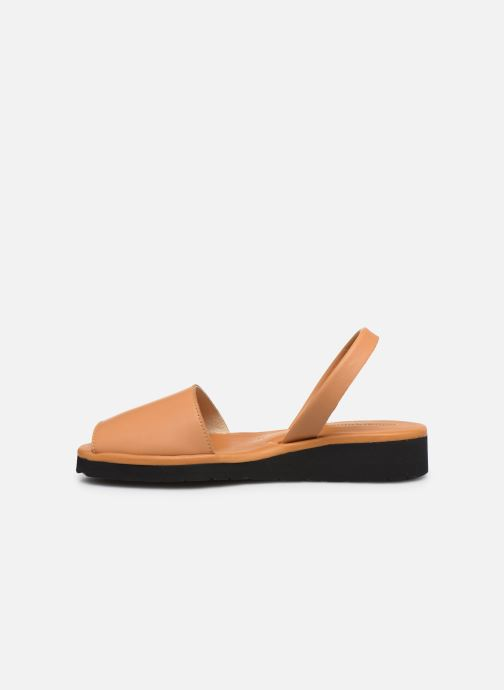 Sandales et nu-pieds Minorquines Avarca Platja Marron vue face