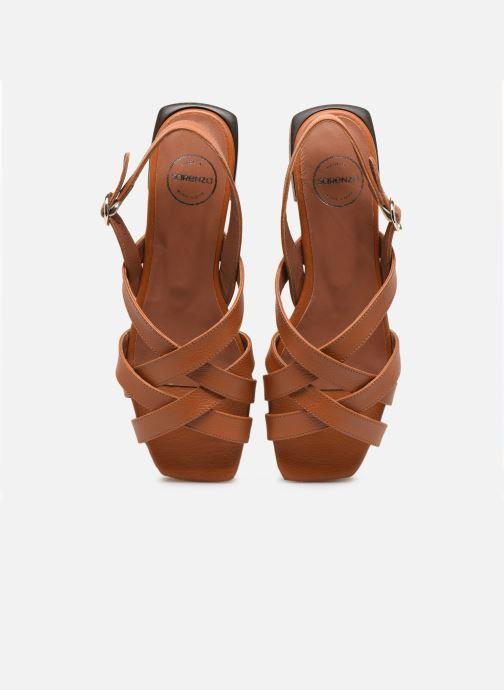 Sandales et nu-pieds Made by SARENZA South Village Sandales Plates #1 Marron vue portées chaussures