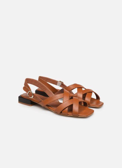 Sandales et nu-pieds Made by SARENZA South Village Sandales Plates #1 Marron vue derrière