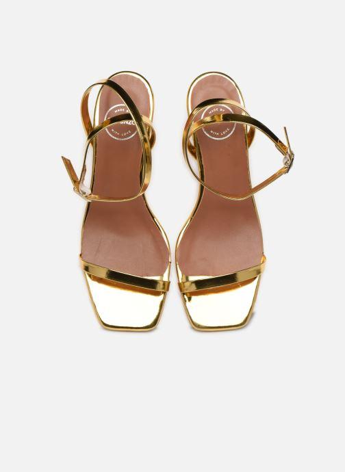Sandali e scarpe aperte Made by SARENZA Riviera Couture Sandales à Talon #1 Oro e bronzo modello indossato