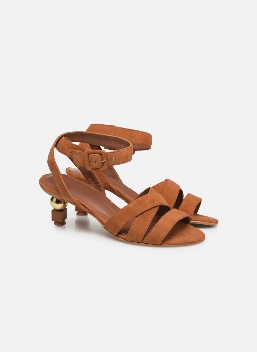 Sandalen Made by SARENZA Riviera Couture Sandales à Talon #6 Bruin achterkant
