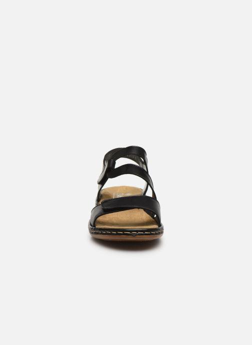 Sandali e scarpe aperte Rieker Ababe Nero modello indossato