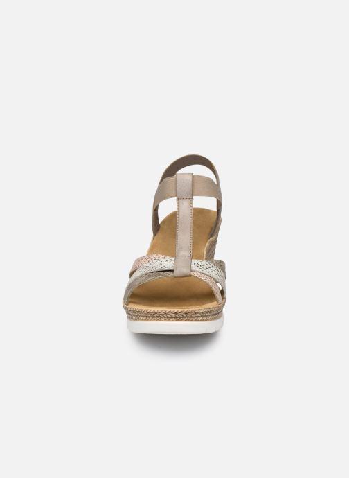 Sandales et nu-pieds Rieker Karishma Gris vue portées chaussures