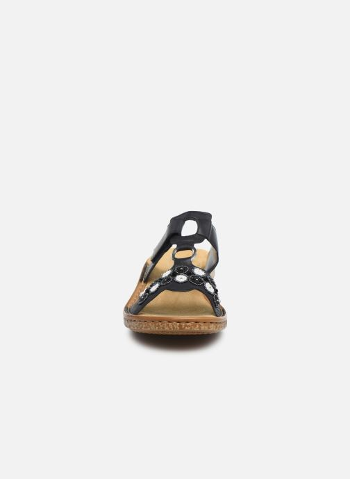 Mules et sabots Rieker Hua Bleu vue portées chaussures