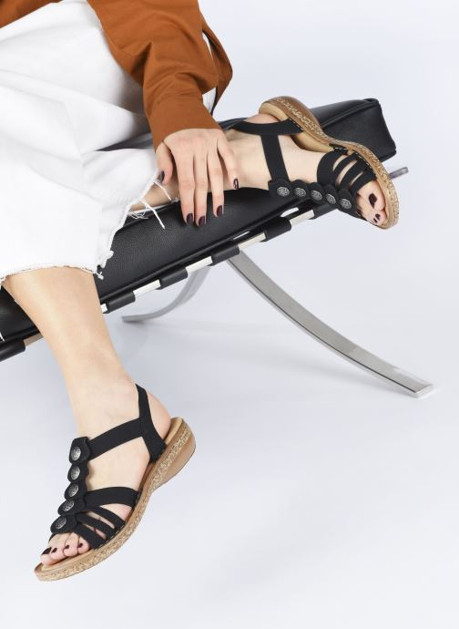 Sandales et nu-pieds Rieker Emilie Noir vue bas / vue portée sac