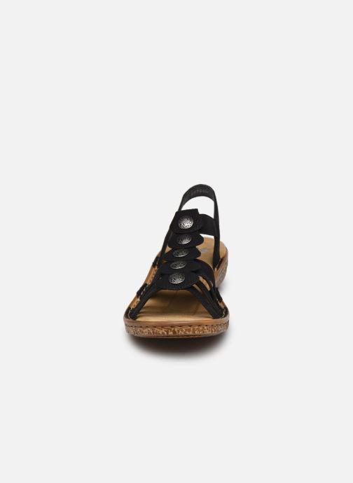 Sandales et nu-pieds Rieker Emilie Noir vue portées chaussures