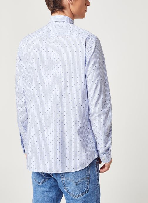Vêtements Selected Homme Slhregpen Sixten Shirt Bleu vue portées chaussures