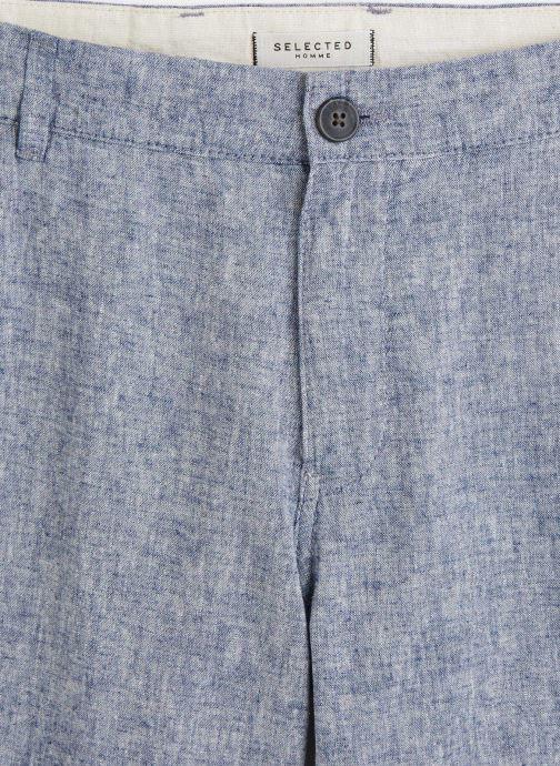 Vêtements Selected Homme Slhstraight Paris Linen Shorts Bleu vue portées chaussures