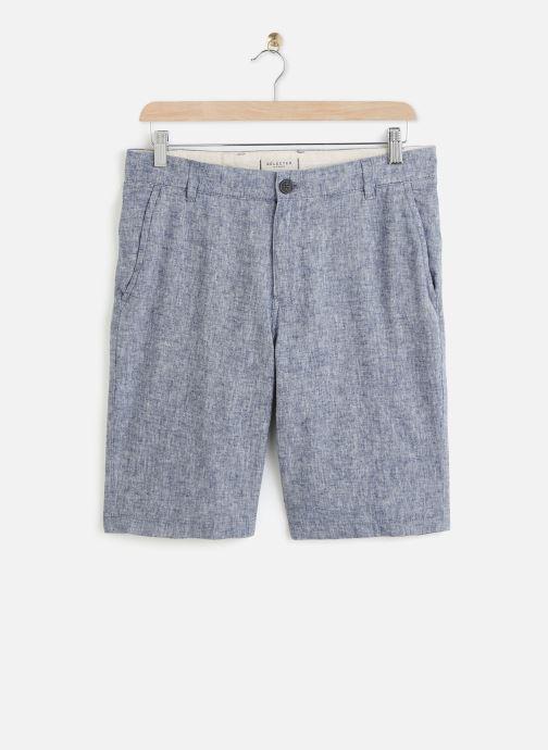 Vêtements Selected Homme Slhstraight Paris Linen Shorts Bleu vue détail/paire