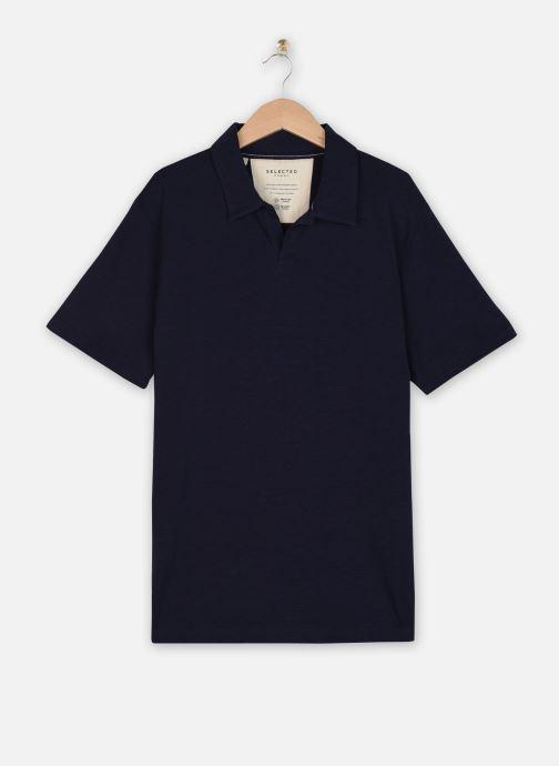 Kleding Selected Homme Slhjared Slub Polo Blauw detail