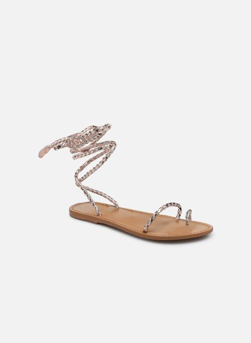 Sandals White Sun Estrelicia Bronze and Gold detailed view/ Pair view