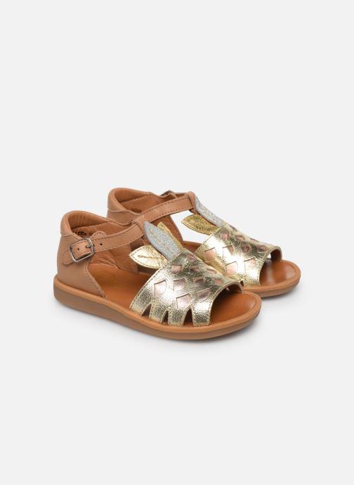Sandales et nu-pieds Pom d Api Poppy Ananas Or et bronze vue 3/4