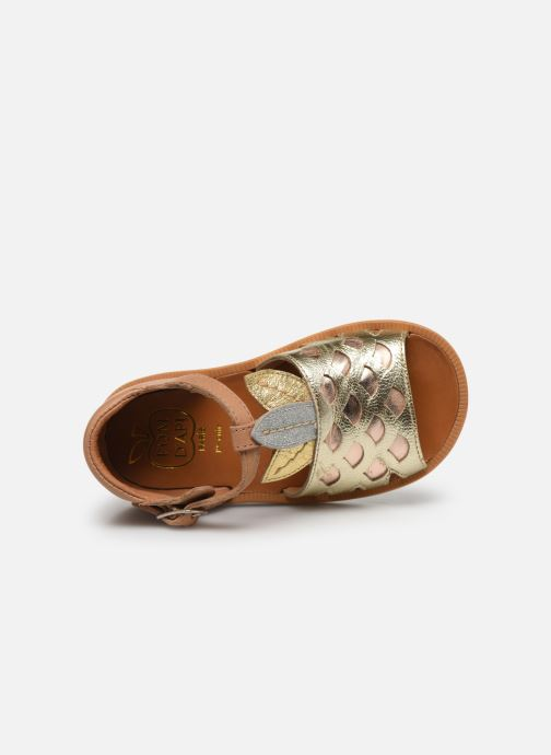 Sandales et nu-pieds Pom d Api Poppy Ananas Or et bronze vue gauche