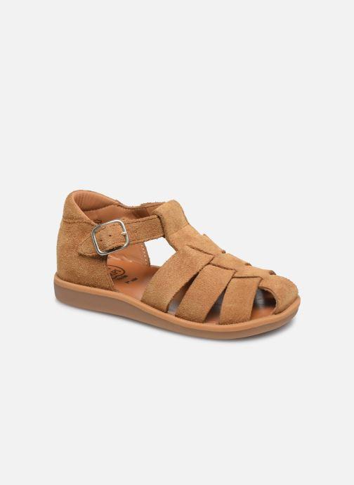 Sandales et nu-pieds Pom d Api Poppy Daddy Marron vue détail/paire