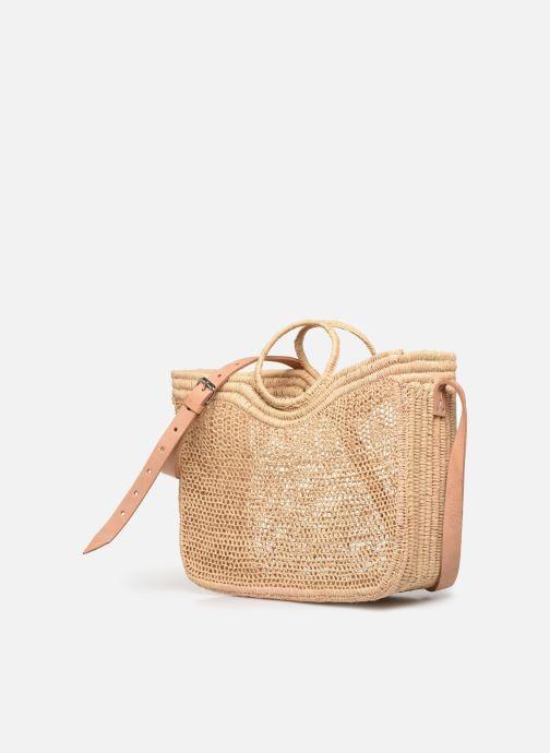 Handtaschen Etincelles Sac Raphia Crochet beige schuhe getragen