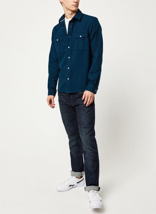 Vêtements Faguo CERISY SHIRT COTTON VP Bleu vue bas / vue portée sac