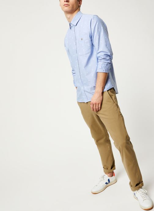 Vêtements Faguo ONCA SHIRT COTTON VP Bleu vue bas / vue portée sac