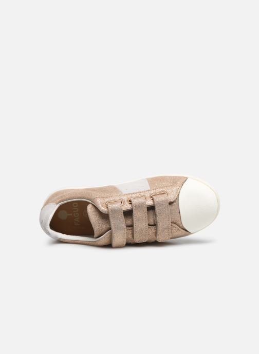 Baskets Faguo TENNIS HOSTAV SUEDE VP Or et bronze vue gauche