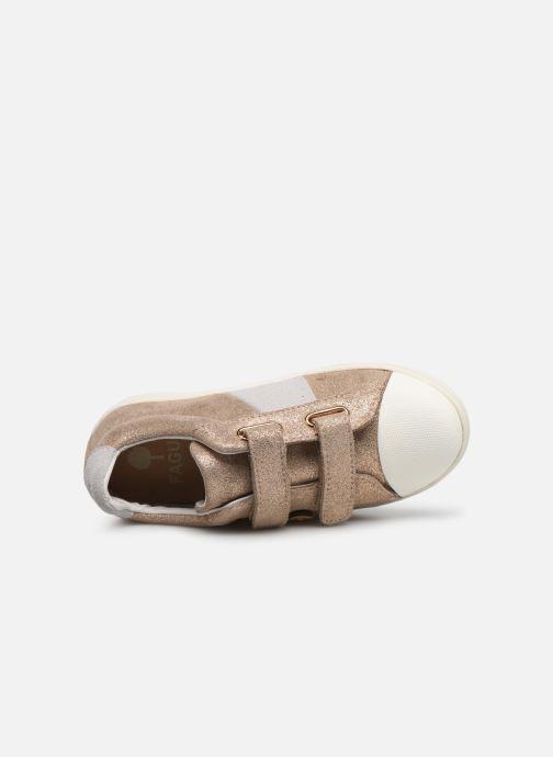 Baskets Faguo TENNIS HOSTAV SUEDE VP Or et bronze vue gauche