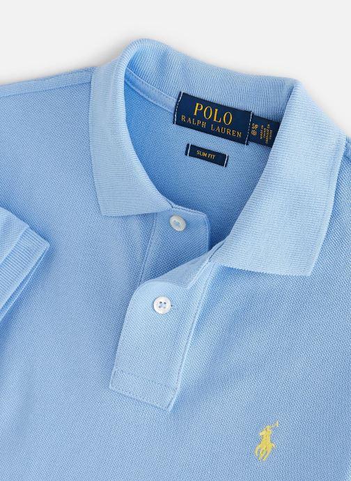 Vêtements Polo Ralph Lauren Slim Polo-Tops-Knit Bleu vue portées chaussures