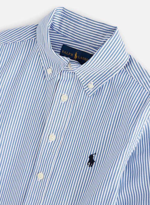 Vêtements Polo Ralph Lauren Custom Fit-Tops-Shirt Bleu vue portées chaussures