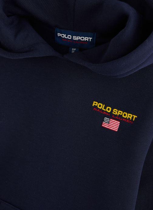 Vêtements Polo Ralph Lauren Ls Po Hood-Tops-Knit Bleu vue portées chaussures