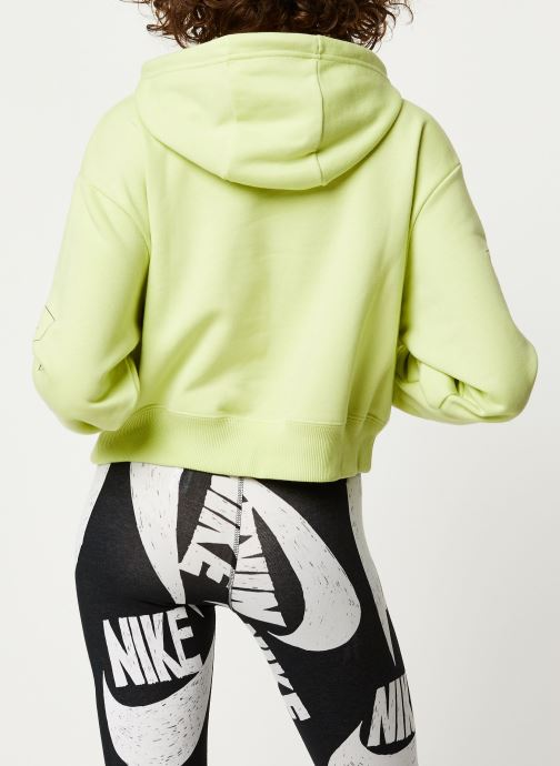 Vêtements Nike W Nsw Air Hoodie Flc Bb Jaune vue portées chaussures