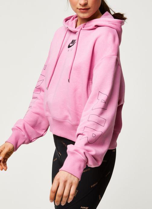 Vêtements Nike W Nsw Air Hoodie Flc Bb Rose vue détail/paire