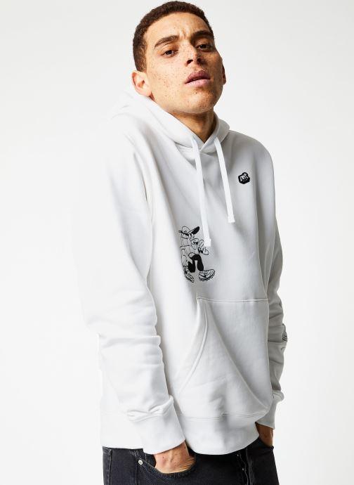 Vêtements Nike M Nsw Bb Flc Po Hoodie Ssnl 3 Blanc vue droite