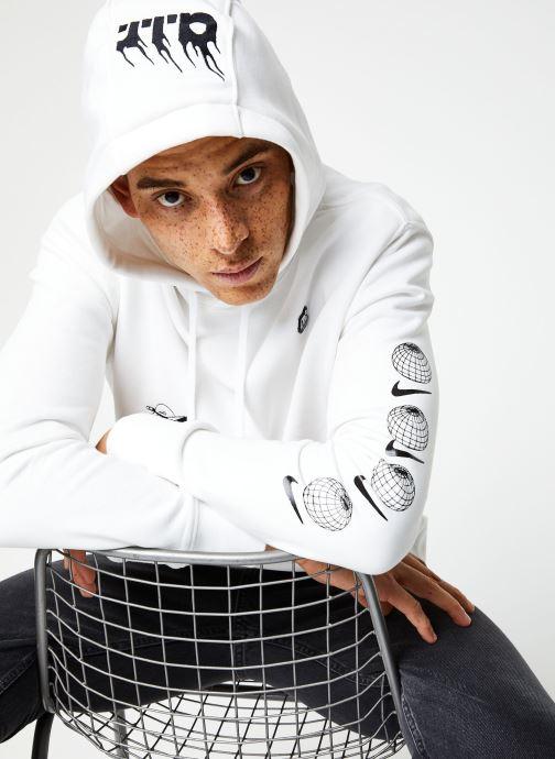 Vêtements Nike M Nsw Bb Flc Po Hoodie Ssnl 3 Blanc vue détail/paire