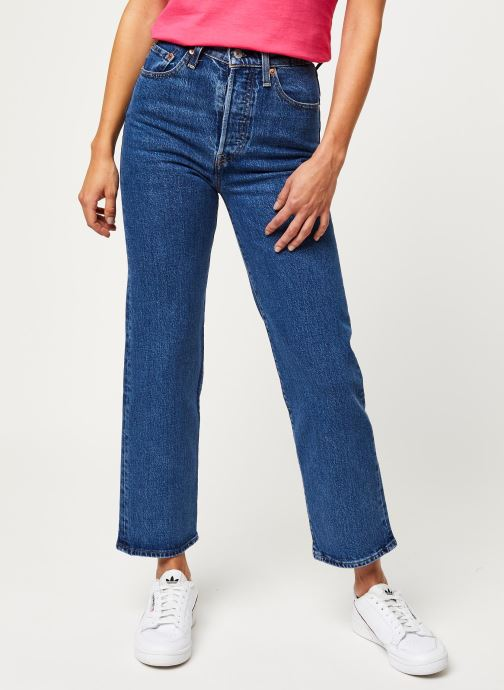 Vêtements Levi's Jean droit Ribcage Straight Ankle Bleu vue détail/paire
