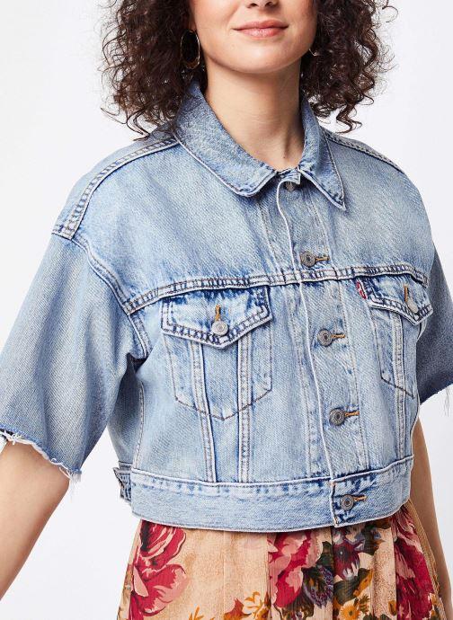 Vêtements Levi's Veste en jean Ss Crop Dad Trucker Bleu vue droite