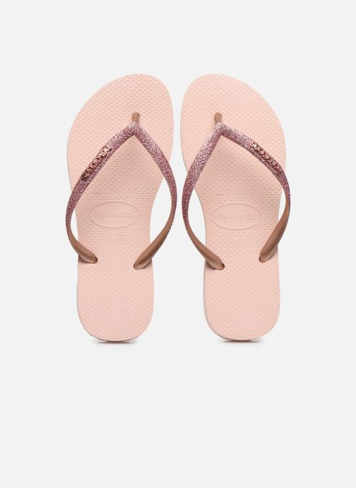 Tongs Havaianas Kids Slim Glitter Rose vue portées chaussures
