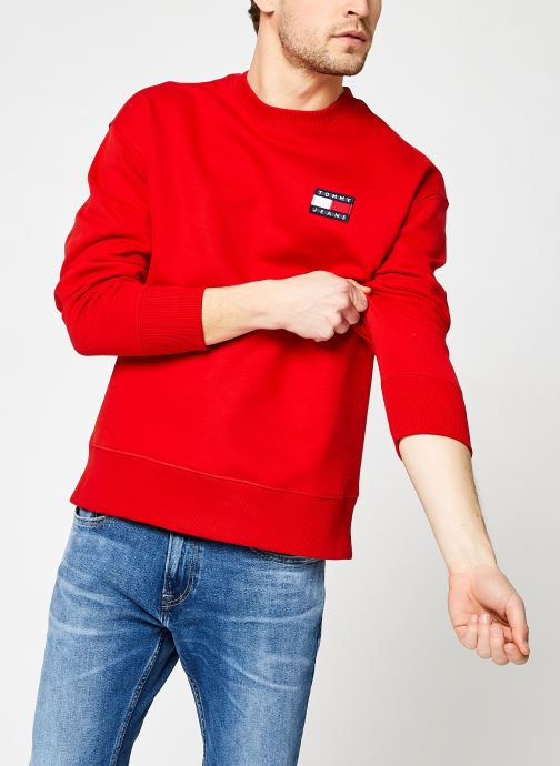 Vêtements Tommy Jeans TJM Tommy Badge Crew Rouge vue détail/paire