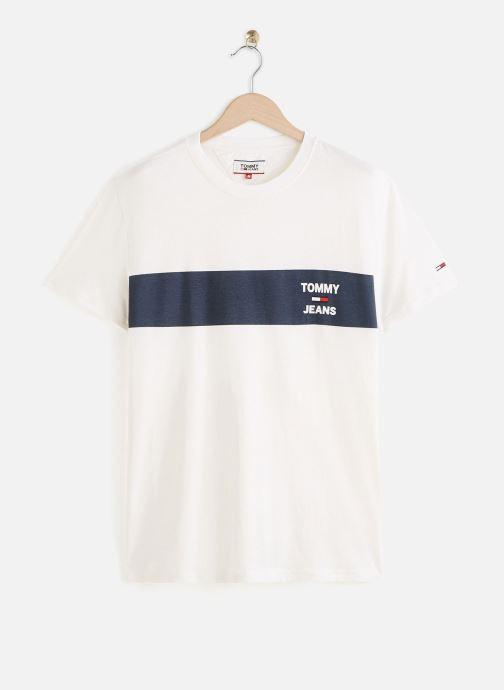 Vêtements Tommy Jeans TJM Chest Stripe Logo Tee Blanc vue détail/paire