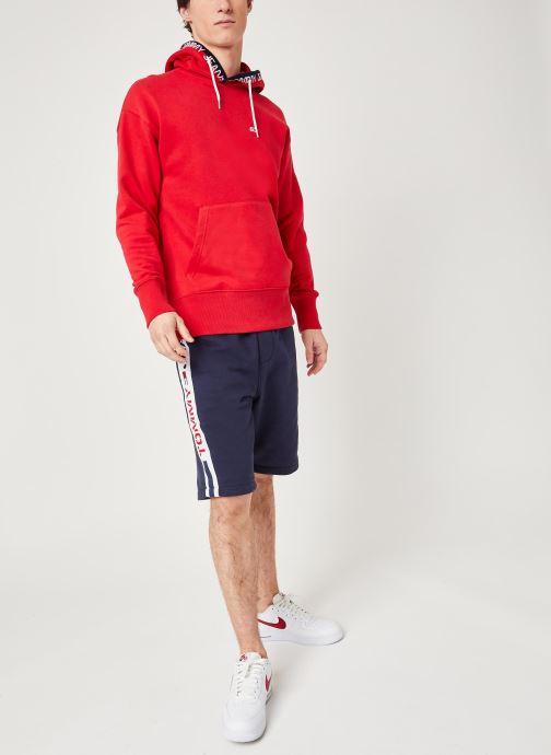 Vêtements Tommy Jeans TJM Branded Rib Hoodie Rouge vue bas / vue portée sac