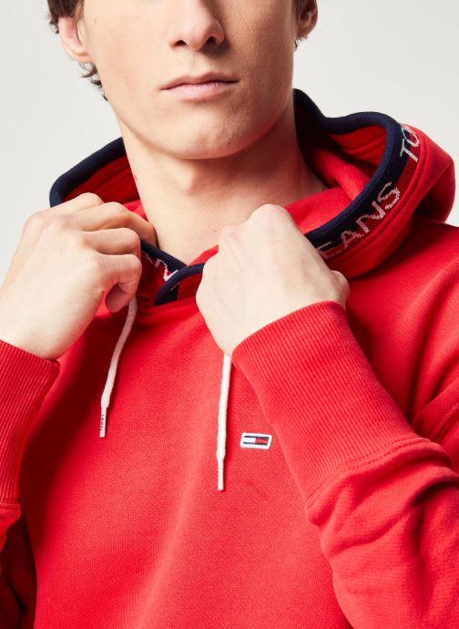 Vêtements Tommy Jeans TJM Branded Rib Hoodie Rouge vue face