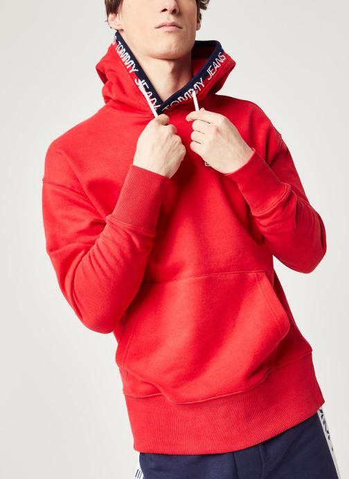 Vêtements Tommy Jeans TJM Branded Rib Hoodie Rouge vue droite