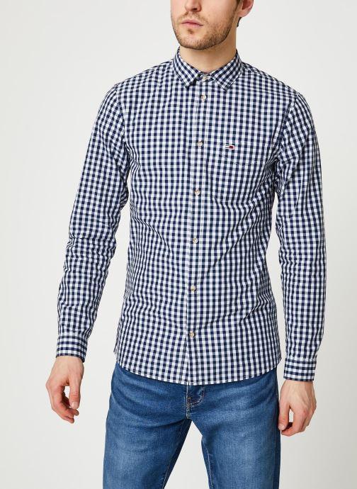 Vêtements Tommy Jeans TJM Overdye Poplin Check Shirt Blanc vue droite