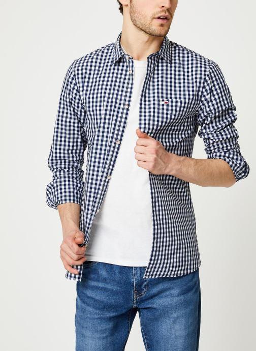 Vêtements Tommy Jeans TJM Overdye Poplin Check Shirt Blanc vue détail/paire