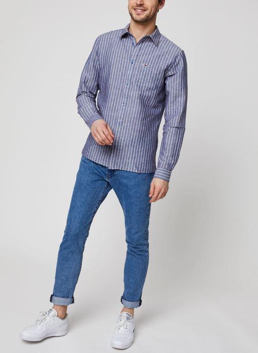 Vêtements Tommy Jeans TJM Linen Blend Shirt Bleu vue bas / vue portée sac